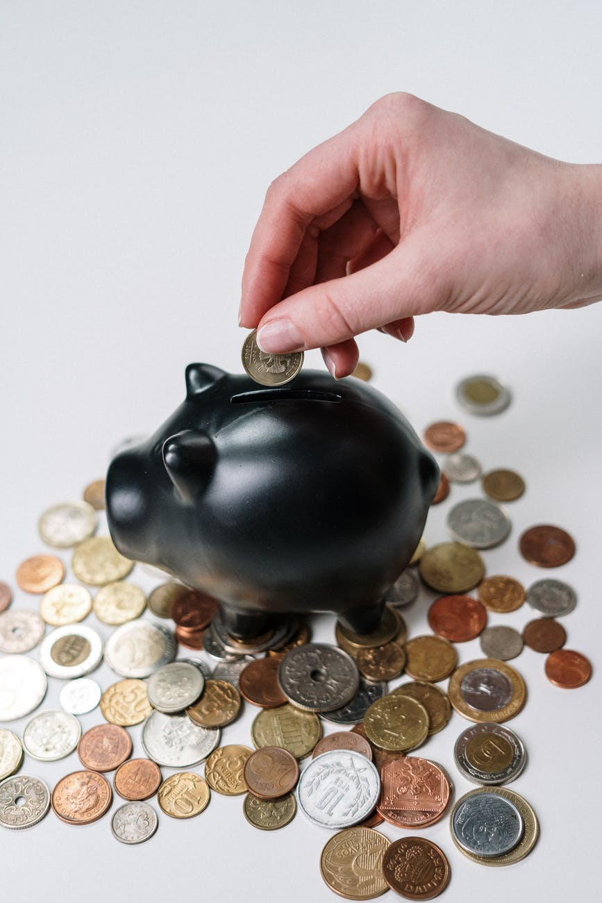 person holding black ceramic pig coin bank